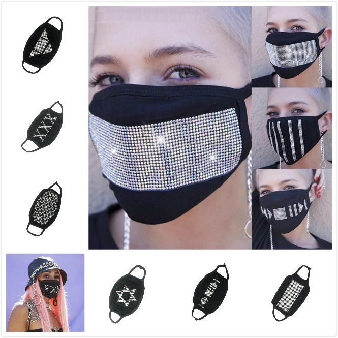 Parlak Yapay elmas maskeleri Anti-Toz Toz Koruyucu Pamuk Ağız Yüz Siyah Moda Yüksek kalite giymek Unisex Bay Bayan Bisiklet Caps Maske
