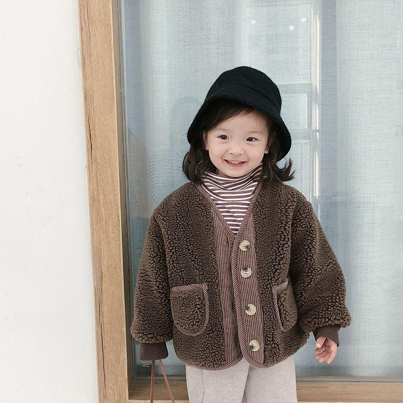 Winter-koreanische Art Unisex Kinder Imitation Lamm Fleece Mäntel verdicken warme Oberbekleidung Jungen Mädchen wattierte Jacken