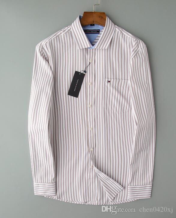 Мужские модные футболки Длинные рукава Solid Color повседневные рубашки 2019 Зимняя Новая блузка Тонкий мандарин воротник подростковая OverShirt133