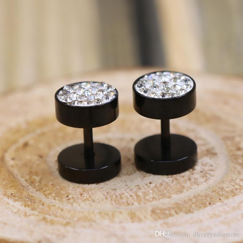Boucles d'oreilles en acier titane avec diamant Boucles d'oreilles Noir Simple ronde européenne et américaine Boucles d'oreilles en acier inoxydable Cadeaux Hot