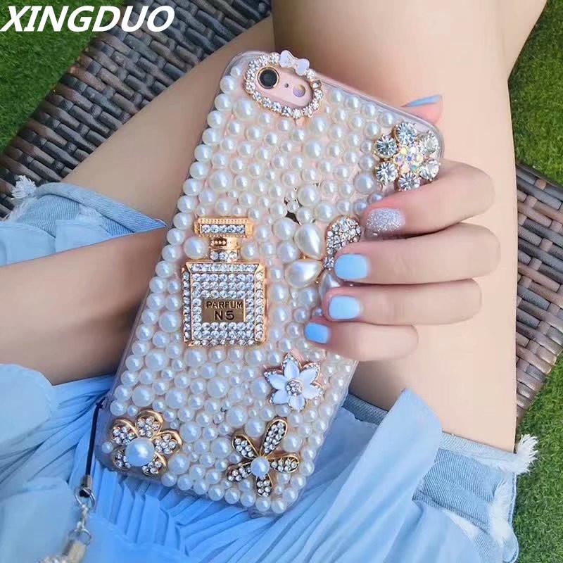 la manera de lujo al por mayor de concha de perla de pantalla completa para el iphone 6 6s 7 8 Plus 3D bling el caso Jeweled flores para el iphone X XS XS XR MAX