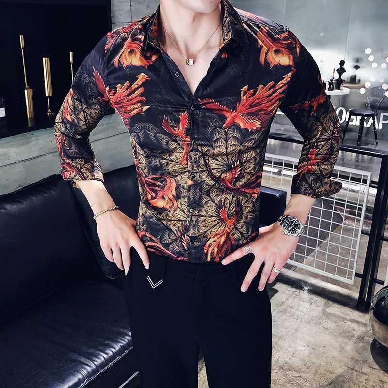 Mens Muster bedruckte T-Shirts Langarm-beiläufige Hemd mit Button-Down beiläufige Art und Weise Slim Fit Male Tops