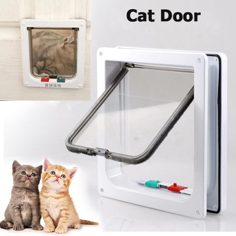 Animal Door For Cat 4 Way Lockable ABS Plastic Safe Cat Crate Gate Pet Door For Cats And Small Dogs Pass Through Wall mount
