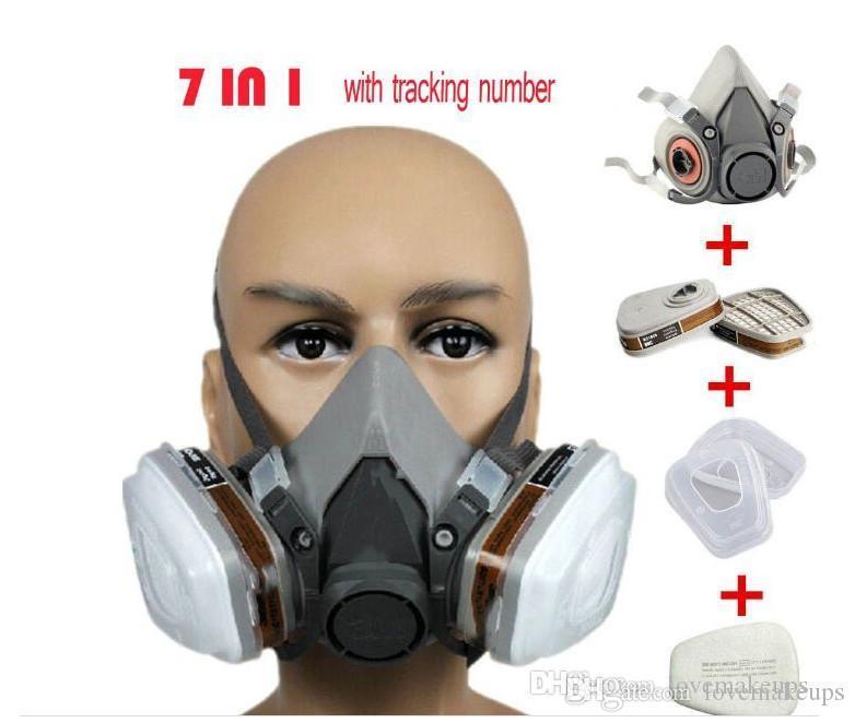 6200 respirador máscara de gás corpo máscaras contra poeira filtro da pintura poeira pulverizador máscara de gás meia máscara protectora, Construção / extracção1