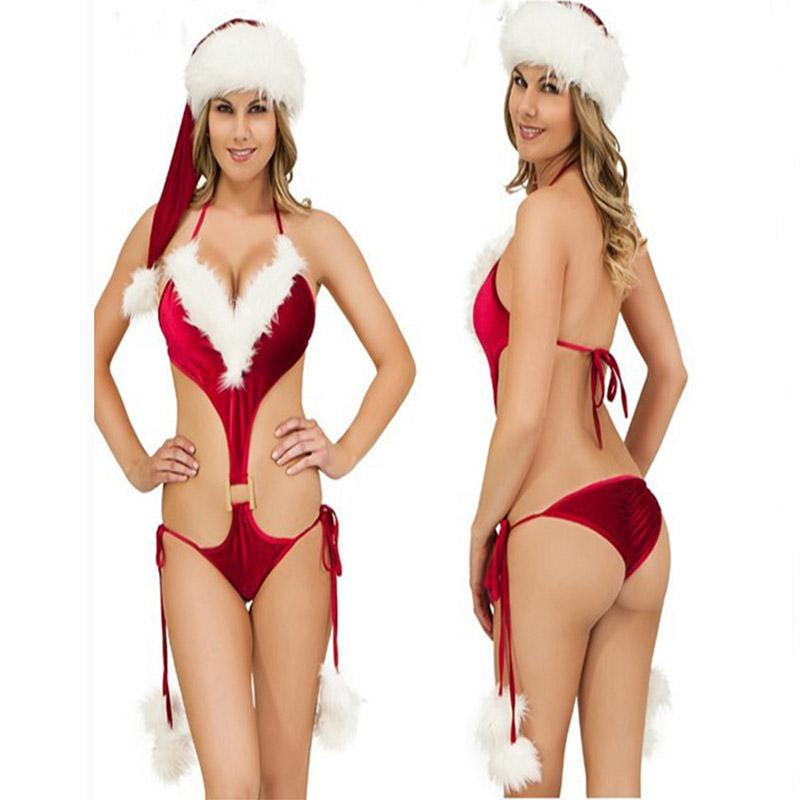 Trajes sexy mulheres sexy lingerie hot vermelho lingerie de Natal + chapéu pijama set club play party underwear quente intimates sleepwear