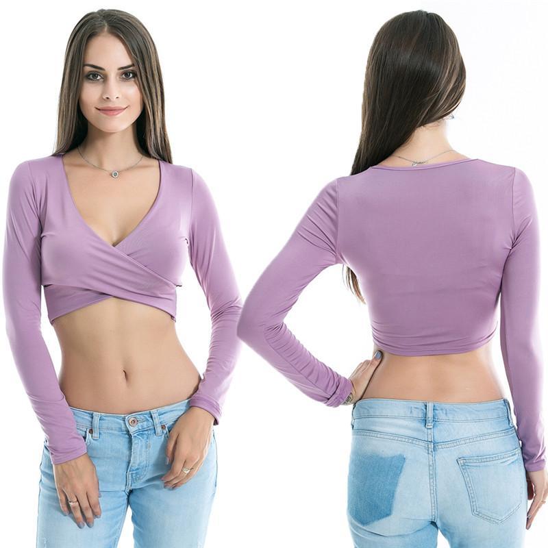 Frauen Art und Weise der reizvollen tiefen V-Ausschnitt Langarm-Crop Tops Damen-lässige Clubwear Sommer feste kurze T-Shirts
