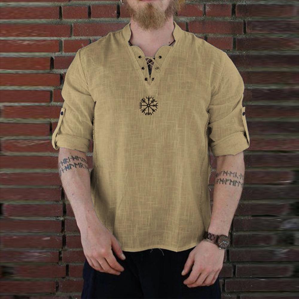 Nouveau printemps Chemisier Casual Hommes 2020 Hommes d'été mince chemises de couleur solides manches longues Pull en lin Chemise Homme