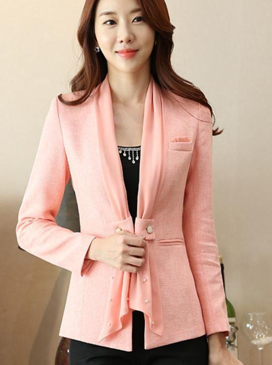 2019 kadın ceket ile ilkbahar ve sonbaharda Yeni stil Uzun kollu moda Pamuk ve keten Batı tarzı giysiler