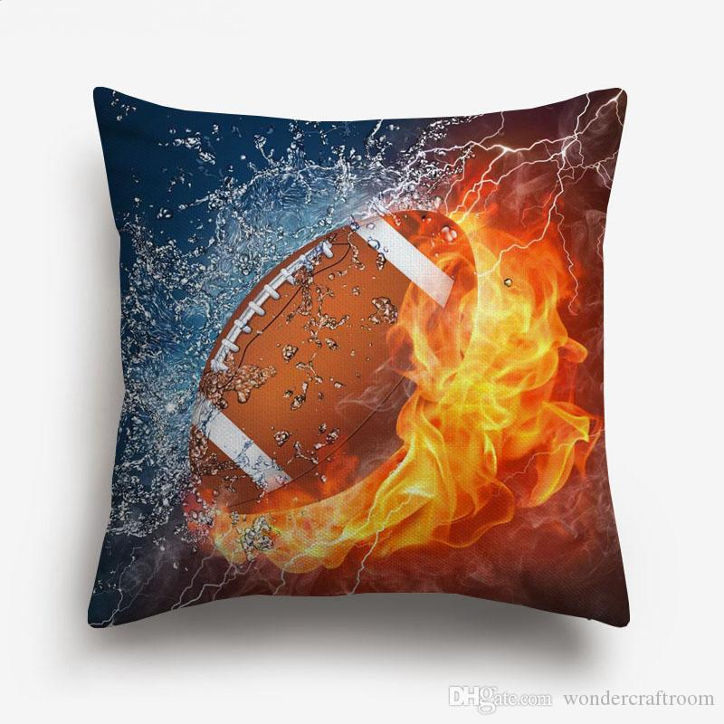 Sport Rugby Football Basketball On Fire Art Cushion Covers Modern Ball Fans Home Cushion Cover Decorative Linen Cotton Pillow Case