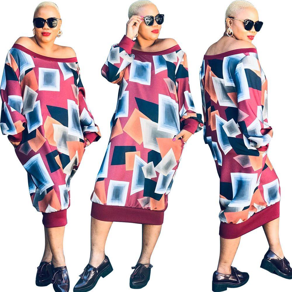 2019 Yeni Geometrik Baskılı Uzun Elbise Off Omuz Kadınlar Yaka Uzun Kollu Gevşek Günlük Maxi Elbiseler Sonbahar vestidos Streetwear Slash