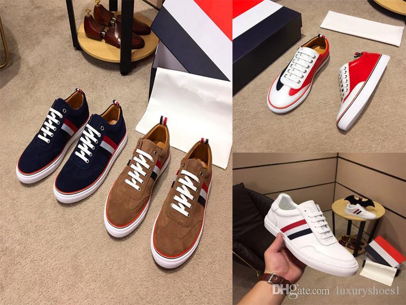 2019 joyas de lujo de cuero salvaje zapatos casuales British Wind Street Skateboard Scrub correa de cuero rojo blanco azul tamaño 3 vías 38-44