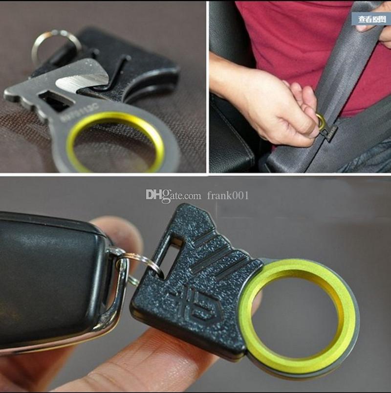 Esterno di sopravvivenza di salvataggio di emergenza della lama Finger Knife Hook Thumb Grip della cinghia della corda di sicurezza cintura di sicurezza dell'automobile Cutter gadget KeyChain