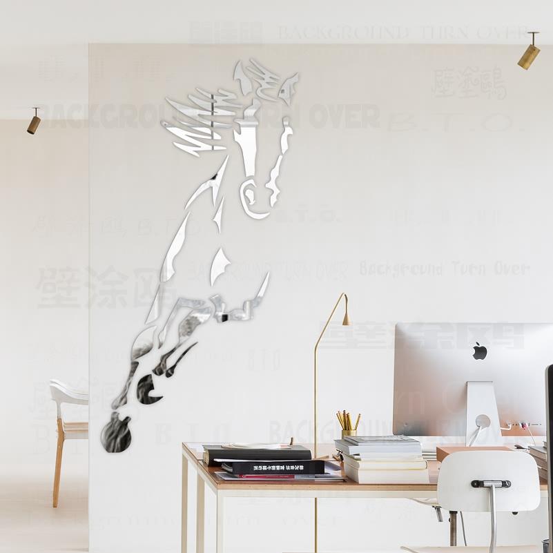 ome Jardin décoratif Hot Galloping Cheval 3D Acrylique Miroir Stickers Muraux Salon Chambre à coucher décorations Porte Sticker Décoration R ...