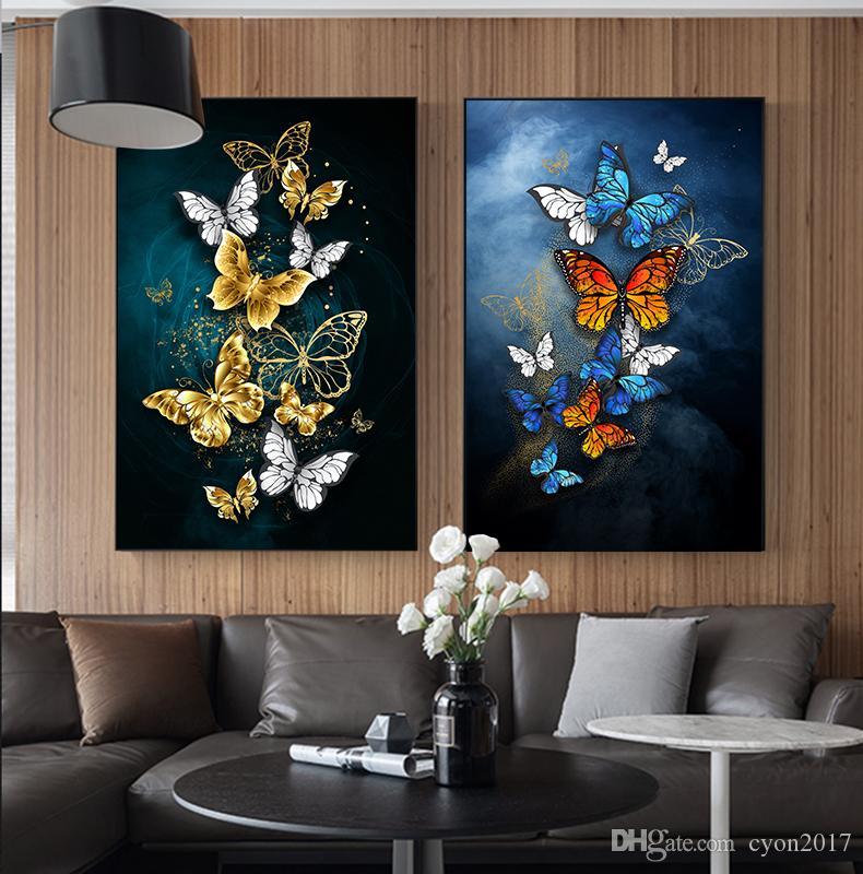 حار حجم كبير جدار الفن التجريدي الذهب الفراشة الزرقاء اللوحة صور كبيرة طباعة ملصق غرفة المعيشة صور غرفة المعيشة