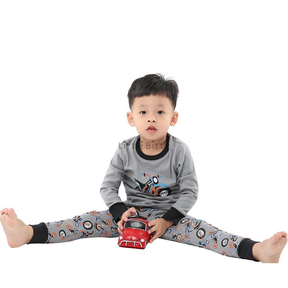 Motorcycle 100 Cotton Printed Boys Pajamas Sets Baby ...