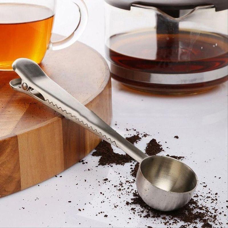 الفولاذ المقاوم للصدأ القهوة قياس مغرفة مع حقيبة كليب ختم متعددة الوظائف الخبز قياس ملعقة توابل حليب الآيس كريم سكوب DH1288