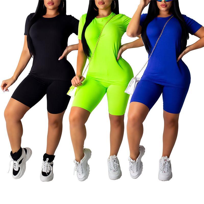 Gym Clothing 2021 Fashion Trend Women Sports Suit Summer Casual Fitness Jogging Sweatshirt Skinny Shorts 2 PCS Set Simple Lounge Wear