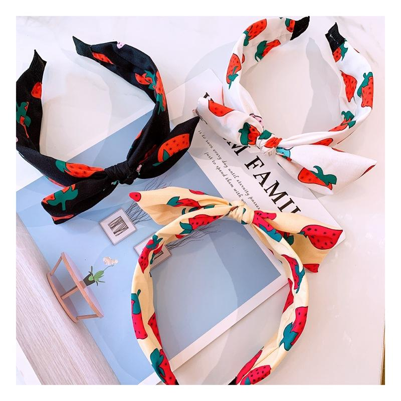 INS Trendy Strawberry Head Band Sweet Bow Headband Lady Party Hair Bands Soft Yoga Hairband Girls Gift Headband