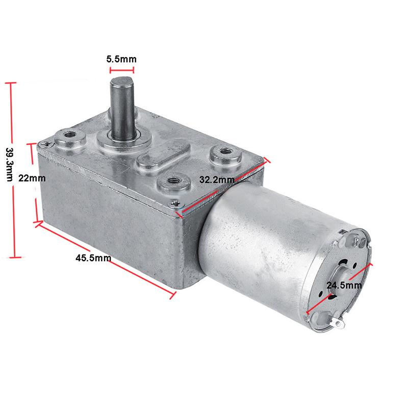 DC 12V Gear Reduction Motor Worm Reversible High Torque Turbo Geared Motor 2-100RPM Mini Electric Gearbox Reducer