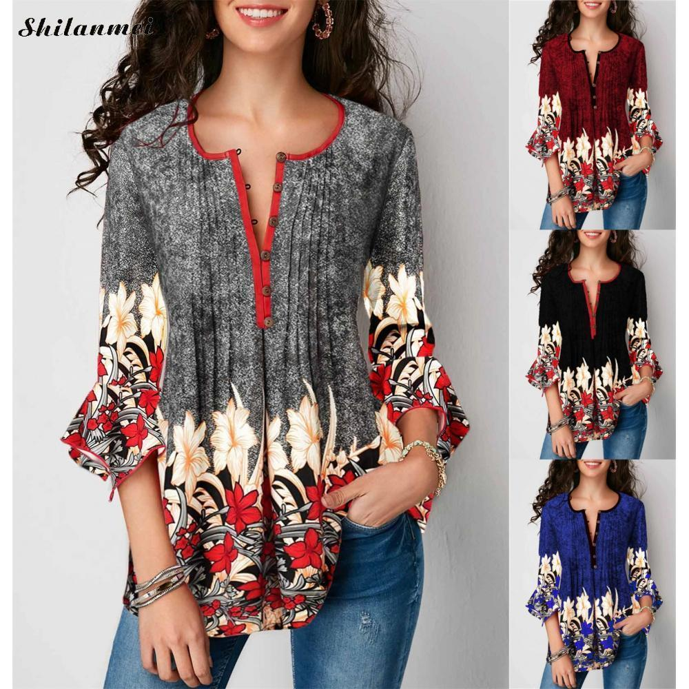 Women's Blouse Three -quarters Sleeve Flowers Print Causal Lose Tunica Women's Blouse 2019 Fashion Plus Size Women's Clothing 5xl Y19071101
