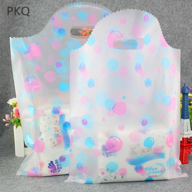 Kol toptan ile Şeffaf noktalar plastik torba alışveriş için 45pcs Küçük Boy Düğün taşıma çantası
