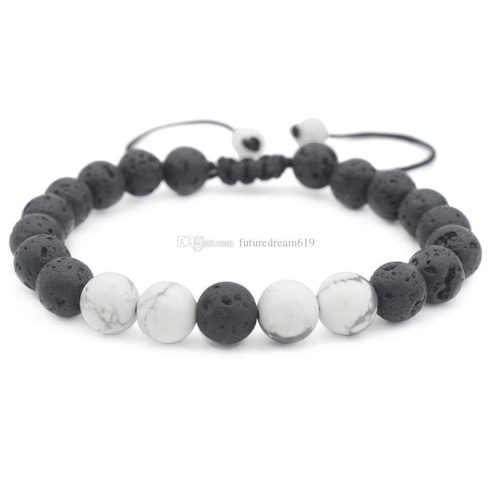 Нового прибытие 8мм Lava Rock шарм браслеты Белой Бирюзовый Природный камень женщины из бисера браслет для Mens регулируемого ручной работы Jewel