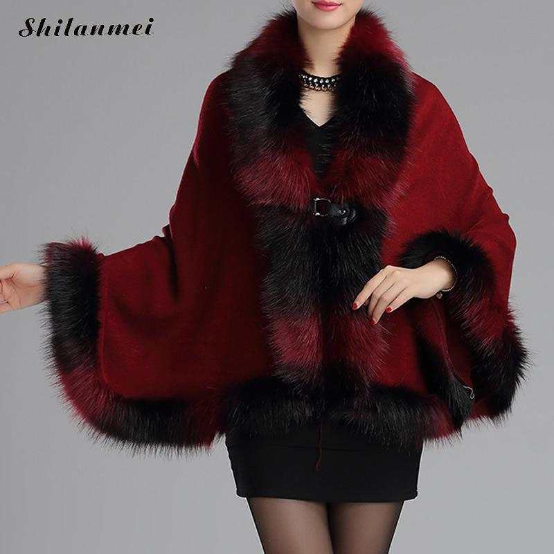 Elegant Women Artificial Fur Cloak Poncho Coat Fashion Frog Button Striped Fur Collar Faux Outwear For Party Dress Vintage