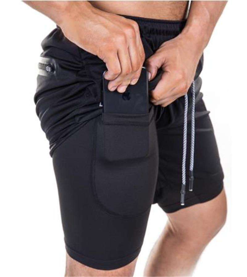 Мужские брюки Designer двухслойный Фитнес Stretch Короткие брюки Лето Весна Drawstring колена Активные Брюки Верхняя одежда