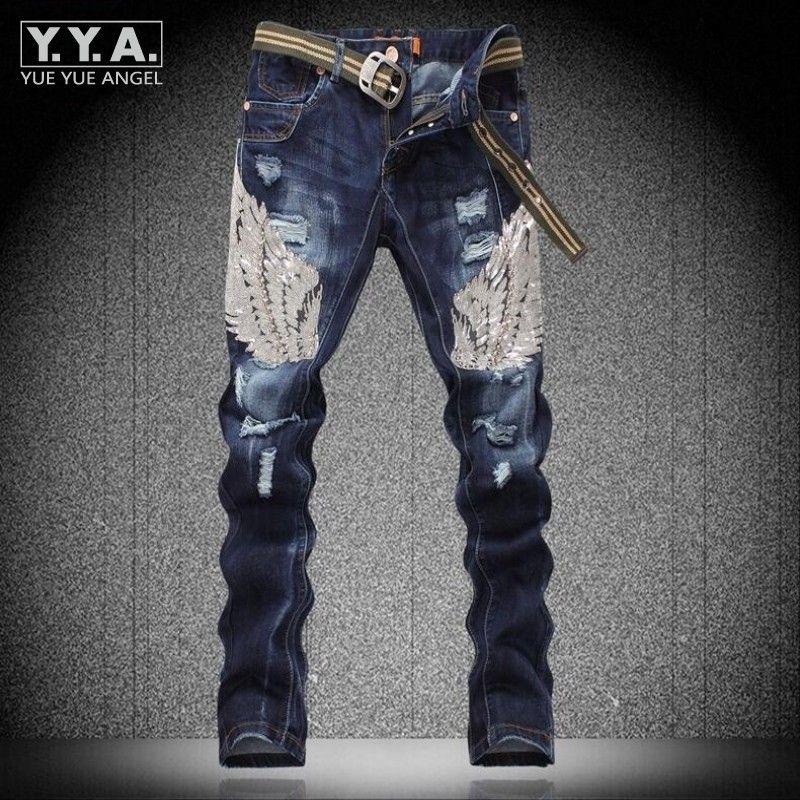 Mens Fashion Pailletten Eagle Wing Cotton Jeans-Hosen-Denim-Hose Ripped Gewaschene beiläufige Eignung Personality-Rock-Punk Homme Jeans