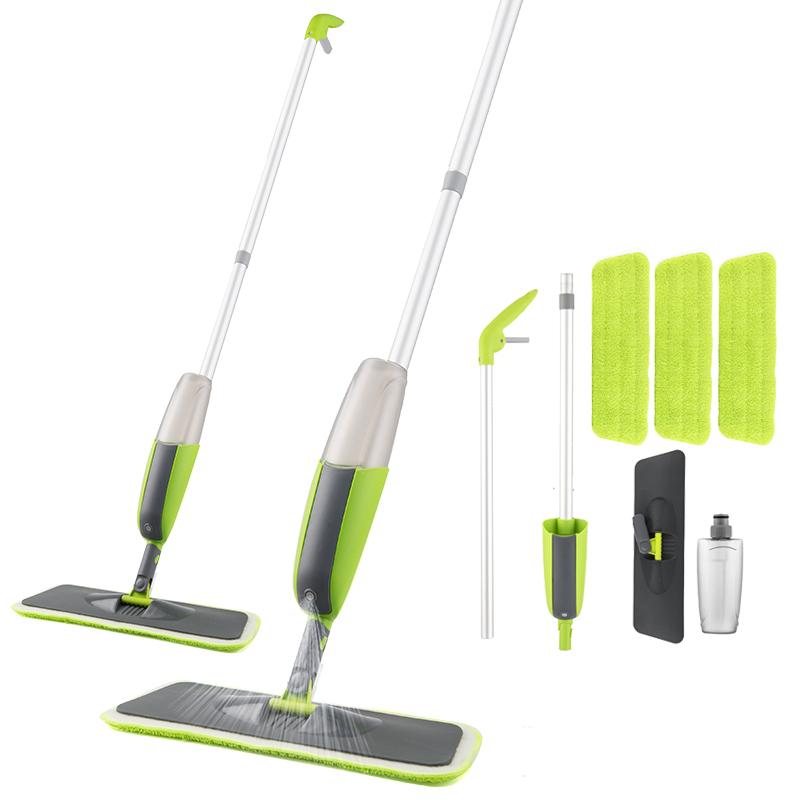 VIP Spray Mop Broom Set Magic Mop Wooden Floor Flat Mops Home Cleaning Tool Household with Reusable Microfiber Pads Lazy Mop T200628