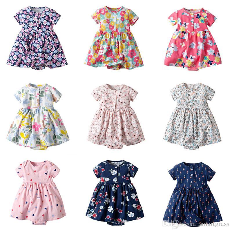 Baby Girl Boutique Casual Day Vestido Vestidos de manga curta de algodão do bebê Verão 13 Design Vestido bonito Romper 19030101
