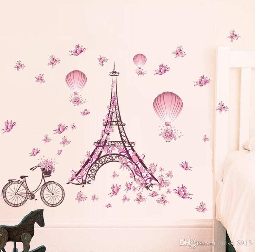 Romântico Torre Eiffel Love Couple Adesivos de parede decalques Flor Sala Decoração de bicicleta Hot Air Balloon Decoração do casamento