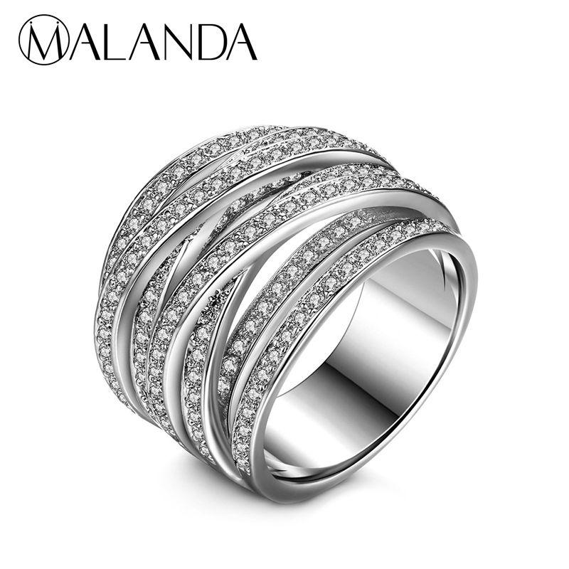 MALANDA 여성을위한 브랜드의 새로운 럭셔리 지우기 지르콘 반지 패션 약혼 여성의 반지 웨딩 사무실 보석의 어머니의 선물 2018