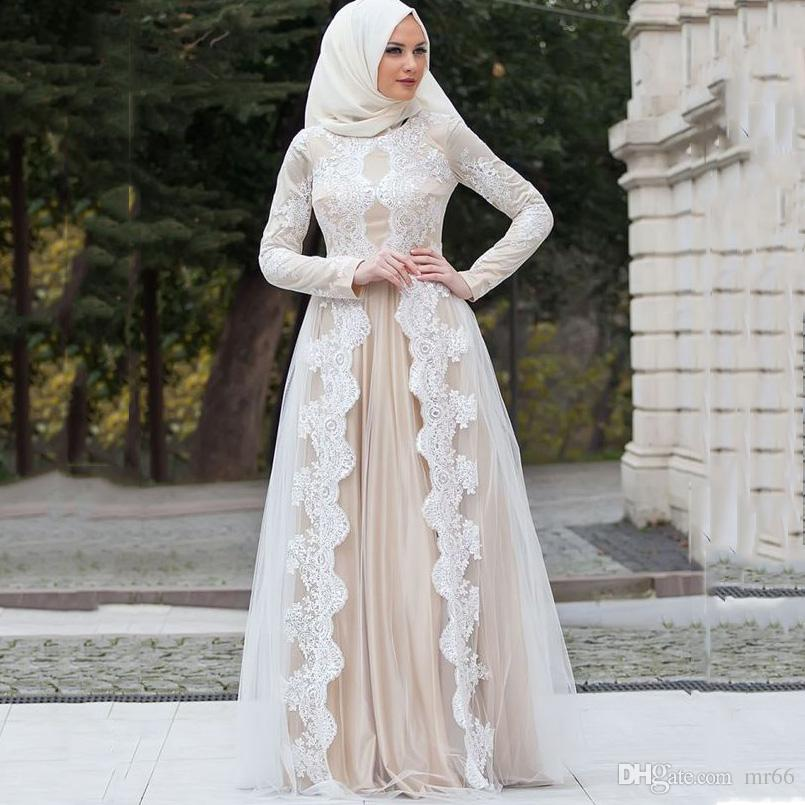 gran surtido envío directo compra genuina Compre Champagne Vestidos De Novia Musulmanes 2019 Encaje Longitud Del Piso  Una Línea Vestido De Novia Vestidos De Noiva Casamento Vestido De Novia ...