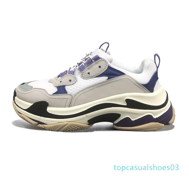 2020triple s дизайнерская обувь для мужчин женщин старинные кроссовки черный белый выведенный фиолетовый мода роскошные мужские кроссовки большая подошва спортивные кроссовки t03