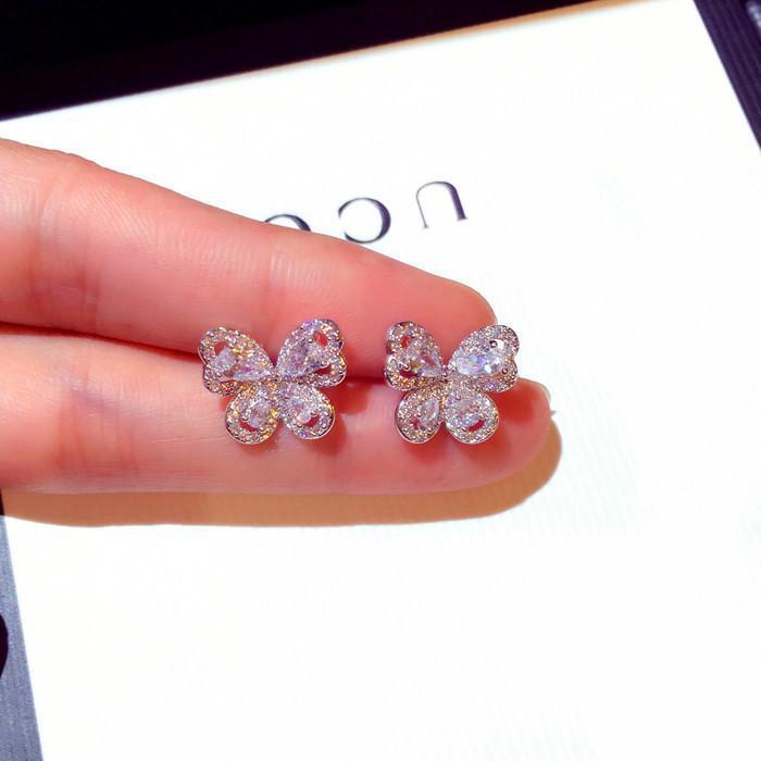 Nette koreanische weibliche Damen-kleine Bolzen-Ohrringe 925 Sterlingsilber-Schmetterlings-Ohrringe für Frauen-Weinlese-Zirkon-Stein-Ohrringe