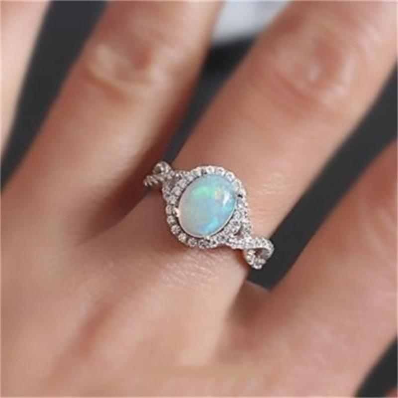 Anelli da donna Vagzeb color argento Anelli con opale di fuoco bianco CZ Fashion Party Jewelry Anelli da donna con opale