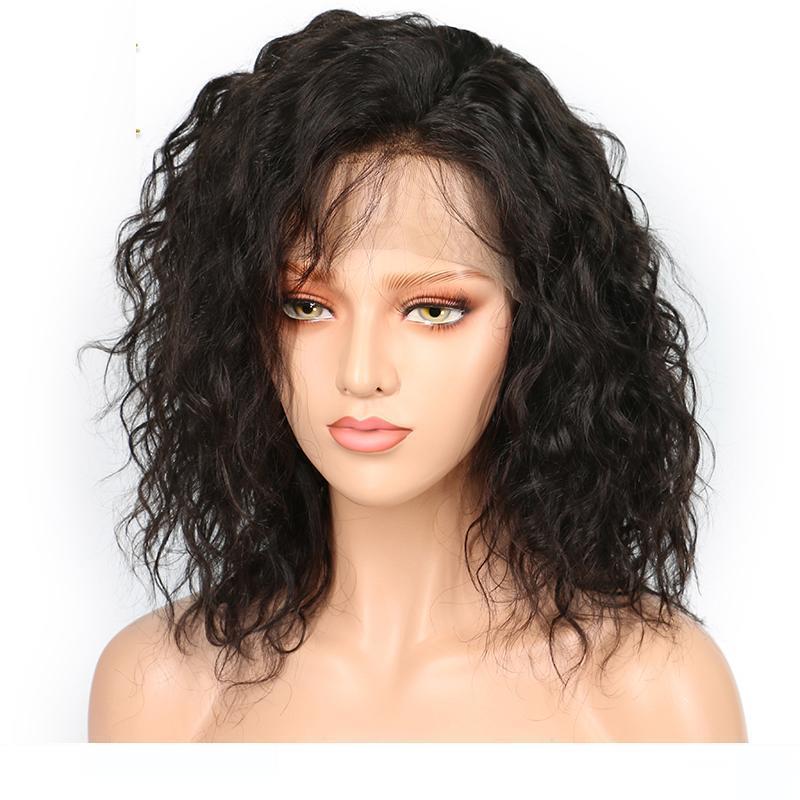 A Bob Cut perruque de cheveux humains avec naturel Hairline Glueless courte onduleux Vierge péruvienne cheveux avant de dentelle court Bob perruques pour les femmes noires