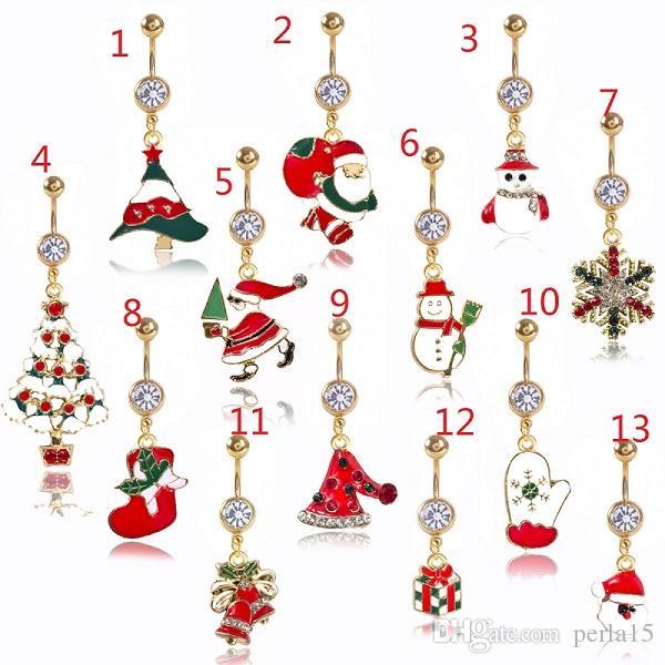 DS8 Neue Weihnachten Bauchnabel Ring Piercing Rote Frau Körper Piercing Schmuck Strasssteine Baum Nabelbar 14g Edelstahl