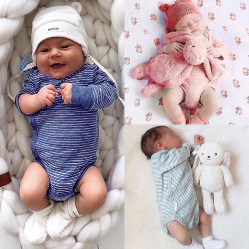 2019 NewFashion новорожденных мальчиков девочек полосатый теплый с длинным рукавом комбинезон боди комбинезон наряды комплект Осень Зима хлопок 0-24 м