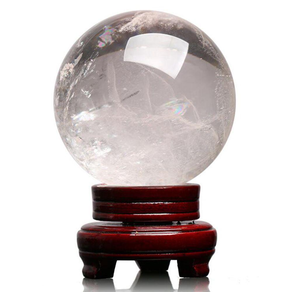 Effacer naturel quartz Boule de cristal de quartz Reiki Sphère de guérison Cristal Pierre Boule Artisanat Décoration en bois Support Livraison gratuite