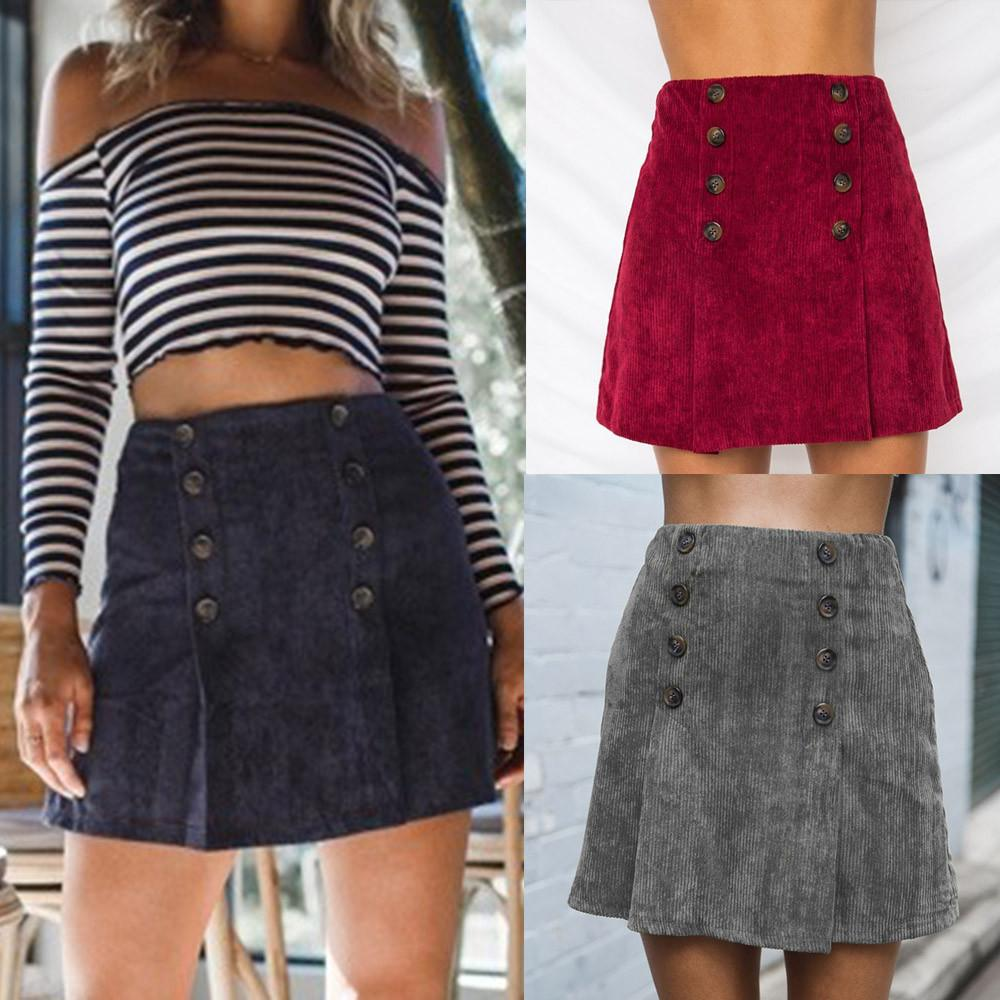 Womail Women Skirt Summer Fashion Solid Double-breasted High Waist Sexy Pencil Bodycon Hip Mini Skirt Casual 2019 dropship f10
