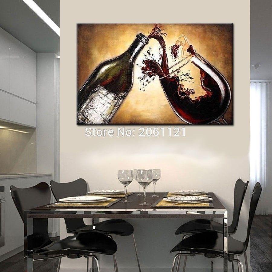 Großhandel Handgemalte Abstrakte Ölgemälde Wein Leinwand Wandbilder Für  Küche Esszimmer Café Wohnzimmer Dekoration Von Carefreeshopping, $23.96 Auf  ...