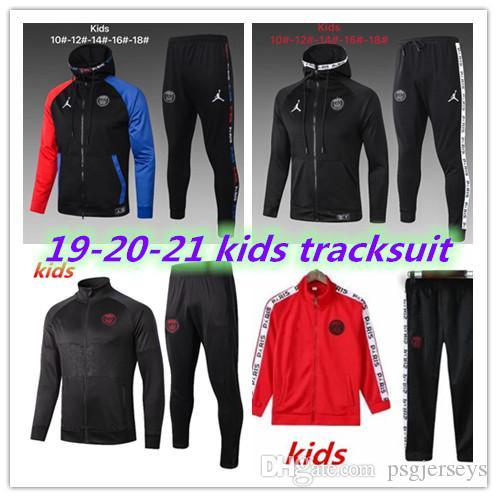 أعلى جودة 2019 2020 PSG Real Madrid isco kids long ziper jacket tracksuit 18 19 20 UTD MBAPPE POGBA kids jacket
