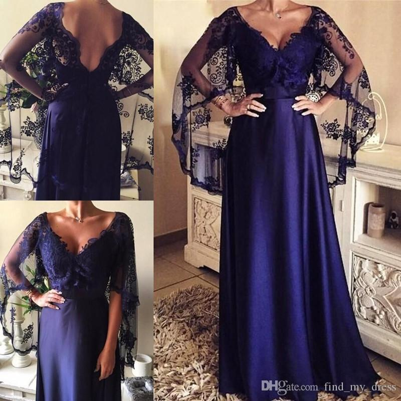 Navy Blue Deep V Neck Sexy Plus Size Backless Satin Mother of the Bride Dress Formal Party Evening Gowns Lace Cloak Wedding Guest
