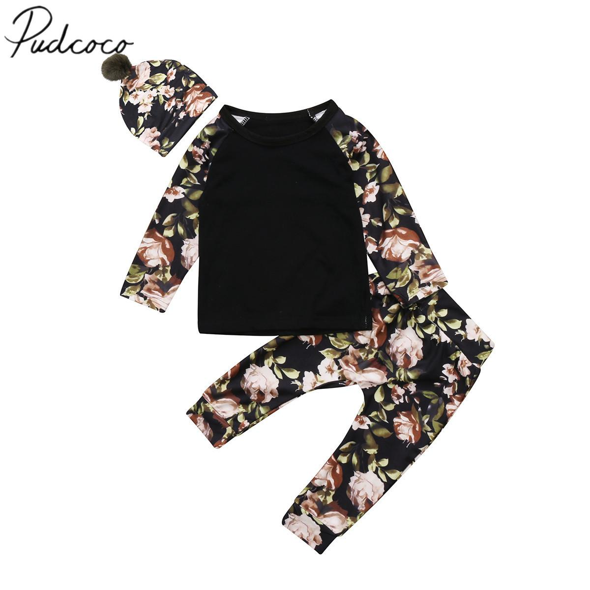 2017 Brand New Newborn Toddler Infant Baby Girls Floral Clothes Tops Long Sleeve T Shirts Pants Pom Pom Hat 3Pcs Set Outfits Y190515