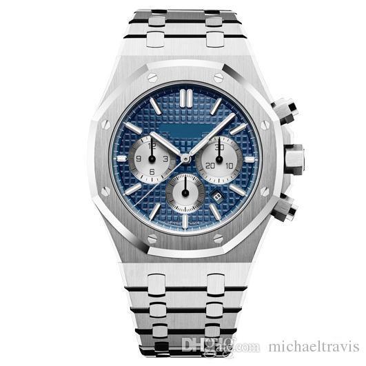 Mens Watch Quartz VK Movimento Cronógrafo Relógios de Aço Inoxidável Vidro de Safira Masculino Negócio de Moda 42mm Relógio De Pulso