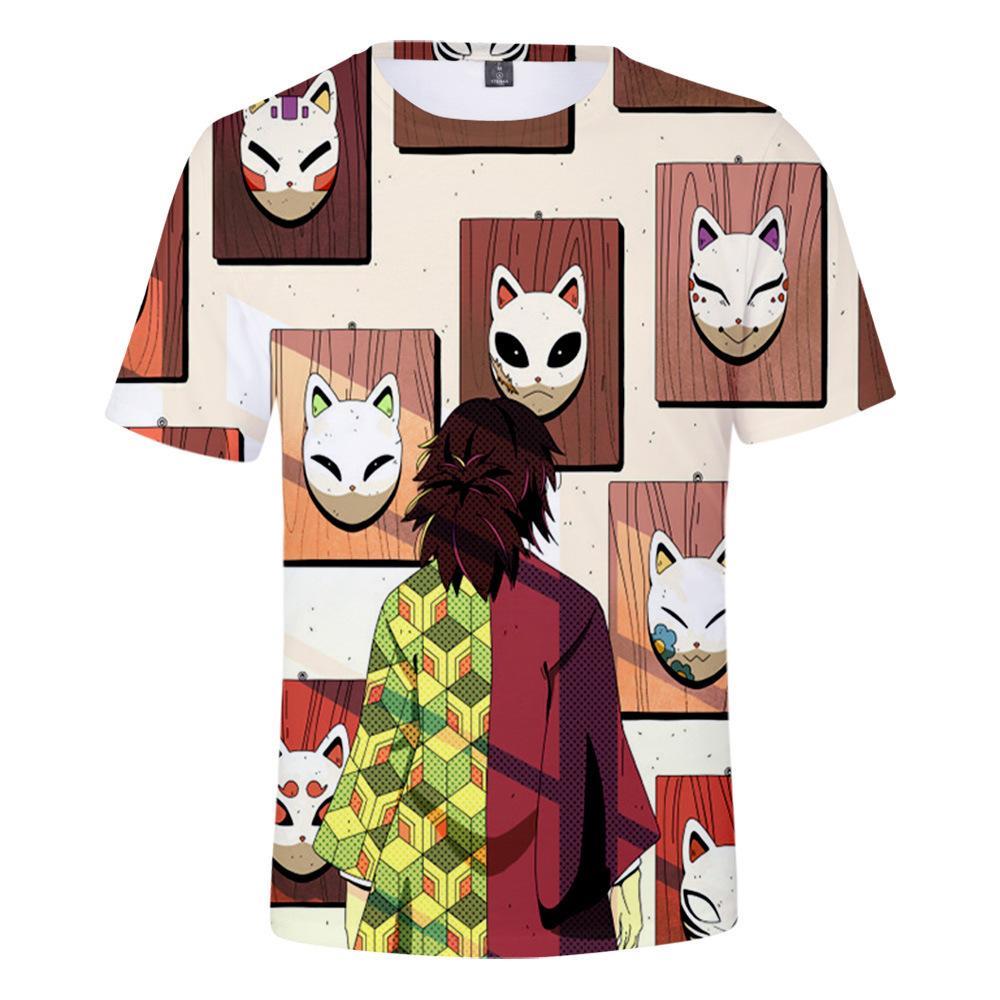 Japonés Demon Slayer camiseta animado 3d Kamado Tanjirou camiseta de los hombres de las mujeres del O-cuello de la camiseta superior del verano ropa de la historieta de manga corta T200318