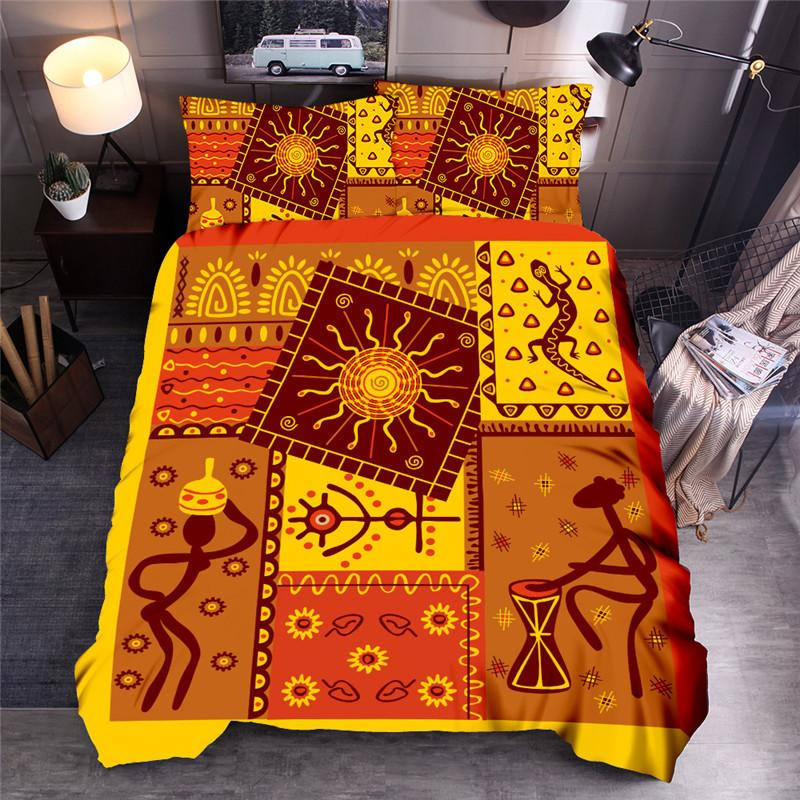 Africa Style Moon Printed Bedding Set Indigenous People Art Women Printed Duvet Cover Sets Queen King Quilt Cover Bed Linen T200422