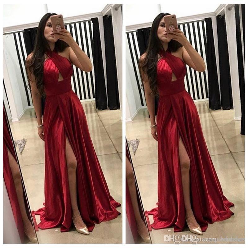Sexy Halter rouge foncé Une ligne Robes de bal 2020 Robes de soirée pas cher Slit de Split Vestidos De Fiesta Party Wear